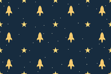 Space pattern. Cartoon rocket. Vector illustration design. Concept.