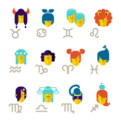 Zodiac signs cartoon vector illustration.