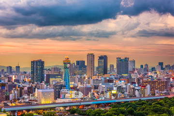 Osaka, Japan Skyline over Shinsekai.
