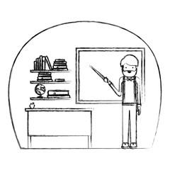 male teacher in classroom vector illustration design