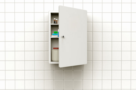 3D rendering of a medicine cabinet with open door on a tiled wall