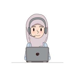 Customer service in call center of business arab woman character doodle design. Cartoon muslim and dubai vector in job.