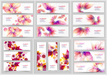 Collection of abstract vector eps10 headers and banners with with floral elements and place for your text