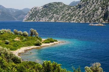 Old ruin Greek culture View Camellia island in Turkey Aegean Sea water rocky coast deserted near Marmaris Ichmeler summer holiday trip panorama landscape paradise