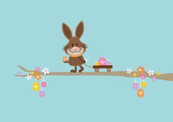 Bunny Handcart Easter Eggs Retro DIN