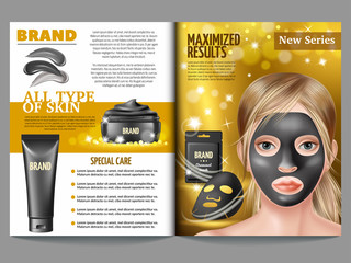 Cosmetic magazine template, black charcoal mask, cream and scrub. Advertising skin care purifying peel-off mask. 3d vector realistic illustration.