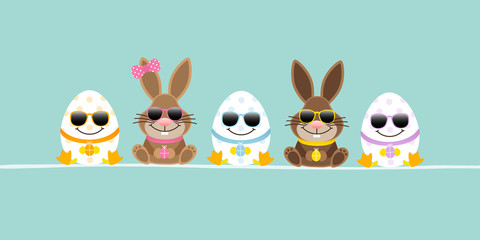 Easter Bunnies Boy/Girl & 3 Eggs Sunglasses Retro