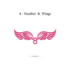 8-number sign & angel wings.Elegant alphabet letters and wings.Creative 8 March logo vector design with international women's day icon.Women's day symbol.Design for international women's day concept.