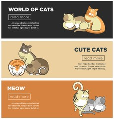 Cats world and kittens pets web banners playing or posing vector flat design