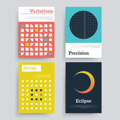 Set of abstract geometric 80's posters with simple shapes and retro colors.