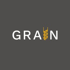 Vector stylized logotype of wheat spikelet