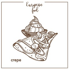 Crepe pancake sketch icon for European French food cuisine cafe dessert menu design