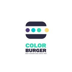 Minimalist vector illustration of stylized burger. Simple colored logo with dots