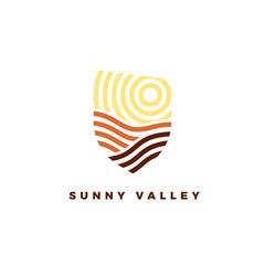 Line art emblem Sunny Valley. Line logotype for wine yards or landscape