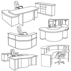 Workplace interior sketch.