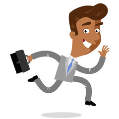 Vector illustration of a smiling asian cartoon businessman with a briefcase running to work isolated on white background