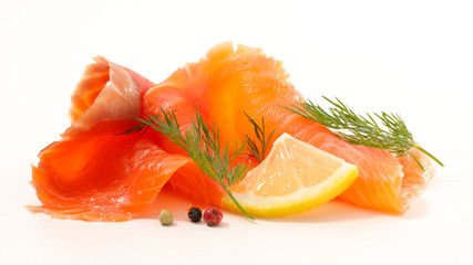 smoked salmon isolated on white background