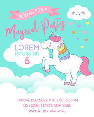 Cute unicorn standing on the cloud illustration for card design template