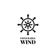 Marine handwheel black silhouette logo. Vector logotype of sea wheel