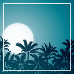 Tropical palm with blue moon sunrise and night sky