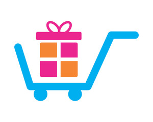 gift box trolley cart carry carriage image vector icon logo