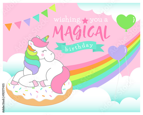 Cute Unicorn Sitting On The Donut Illustration With Cloud And Rainbow Background For Birthday Card Design
