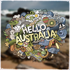 Hello Australia hand lettering and doodles elements and symbols emblem