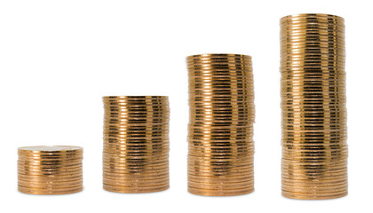 Stack of coins isolated on white background.Clipping Path.