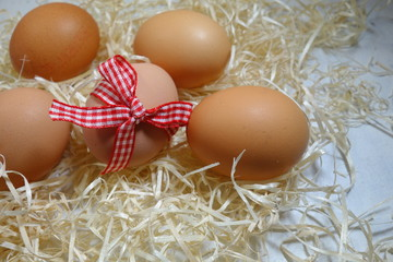 Chicken eggs.Easter theme