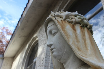 Stone Marble Virgin Mary Statue