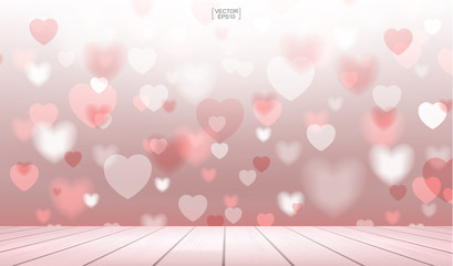 Abstract red heart background with wooden terrace for Valentines day. Vector background and light blurred bokeh.