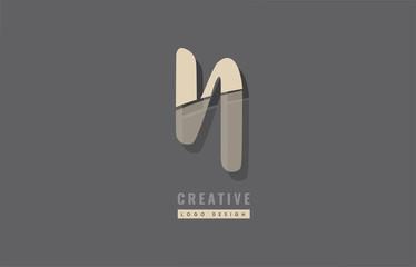 grey yellow modern alphabet letter n logo icon design
