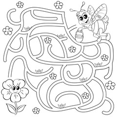 Help bee find path to flower. Labyrinth. Maze game for kids. Black and white vector illustration for coloring book