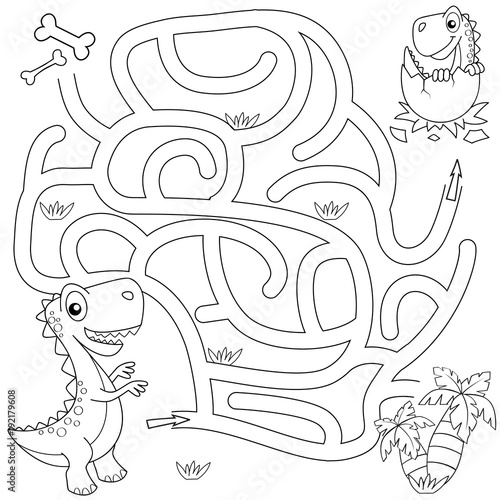 Help Dinosaur Find Path To Nest Labyrinth Maze Game For Kids Black And