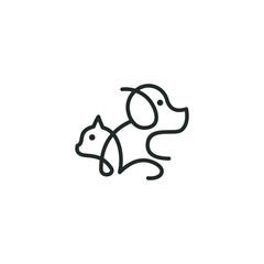 Dog logo outline minimalist vector graphic animal symbol