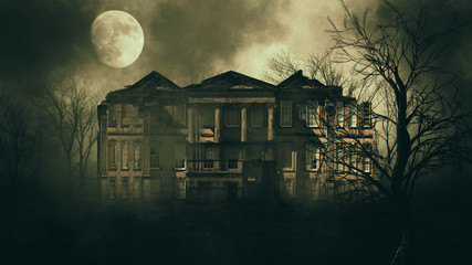 haunted house in creepy night forest.	 Wall mural