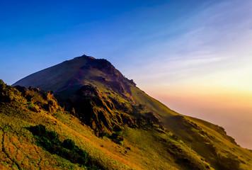 The beautiful Mallayanagiri Peak in Chikmagalur at sunrise