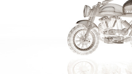 motorcycle model body structure, wire model with Reflect 3d rendering