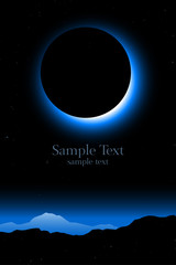 total solar eclipse, minimal landscape vector with copy space