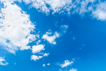 Blue Sky with with clouds on the foreground and blue sky background