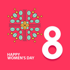 Happy International Women's Day. 8 number 3d illustration. Happy Mother's Day. Eps10 vector illustration with place for your text.