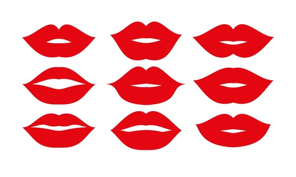 Beautiful red lips icons collection vector