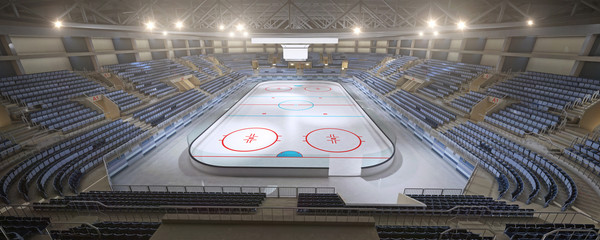 3d hockey stadium with an empty ice rink sport arena rendering