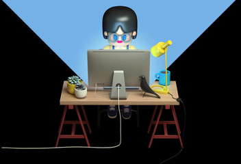 3d rendering of little girl in glasses working on computer late at night . Cute working space. Cartoon stylized .