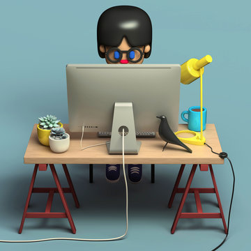 3d rendering of little girl in glasses working on computer. Cute  working space. Cartoon stylized.