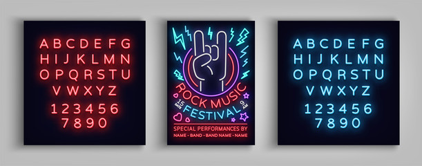 Rock festival poster in neon style. Neon sign, invitation to the concert brochure on roknroll music, bright banner, flyer for festivals, parties, concerts. Vector illustration. Editing text neon sign