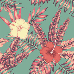 Hibiscus leaves vintage color tropical seamless pattern