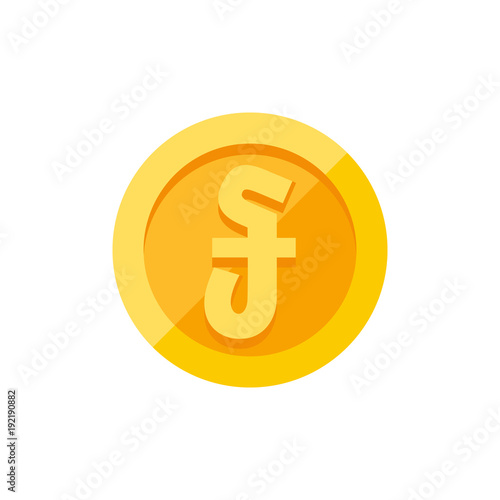 Cambodian Riel Currency Symbol On Gold Coin Flat Style Stock Image