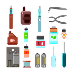 Vaping Accessories Flat Icons Set