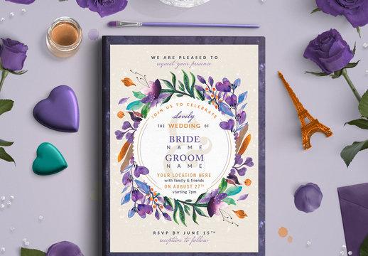 Bright Floral Wreath Wedding Invitation Layout 2